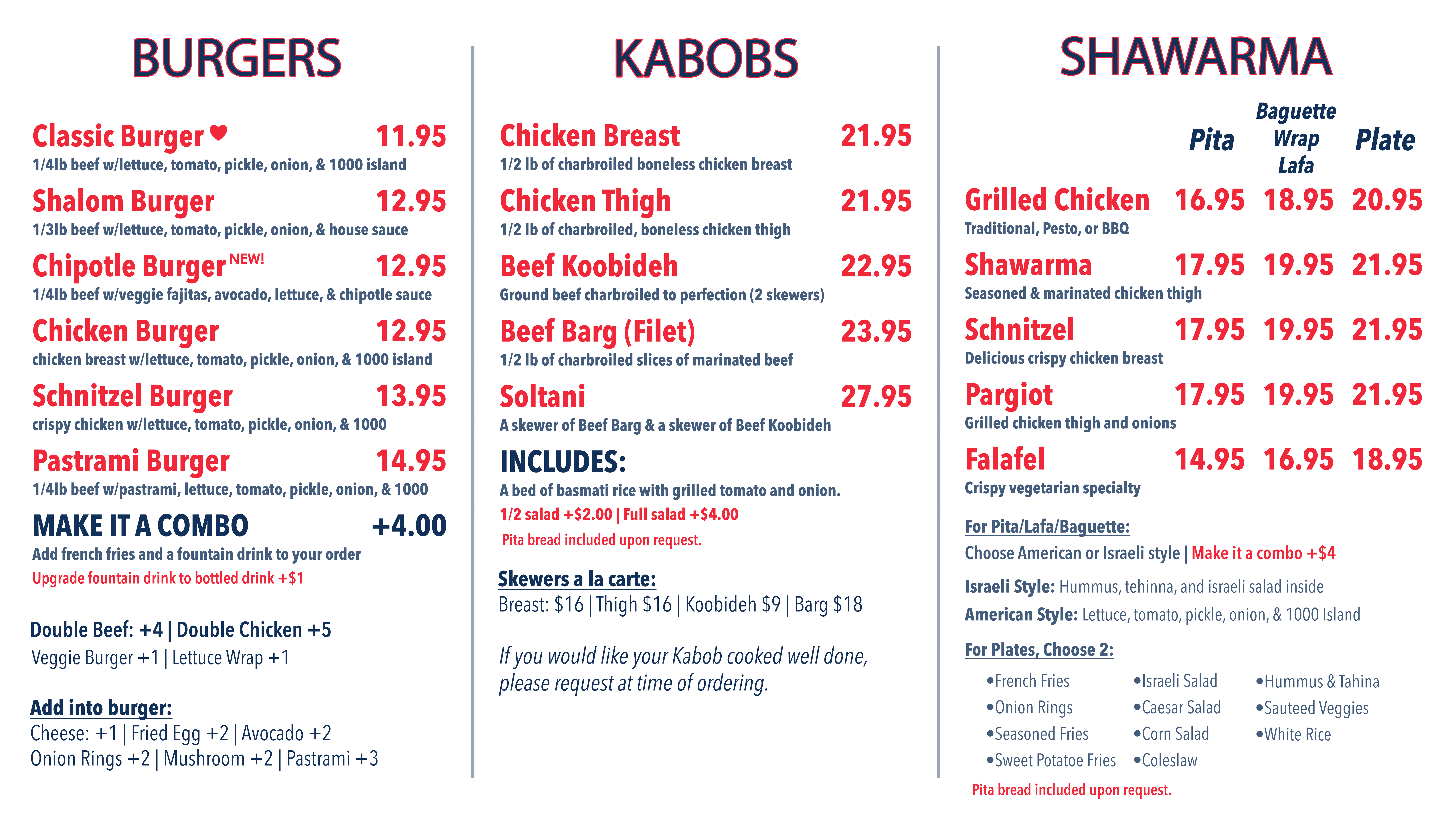 Shalom Grill Menu 1